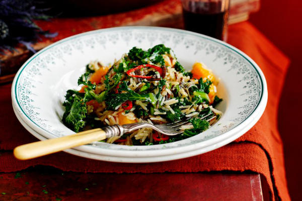 Poelée de riz, kale, courge musquée et châtaigne